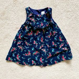 GAP | Navy floral & ruffle corduroy jumper dress